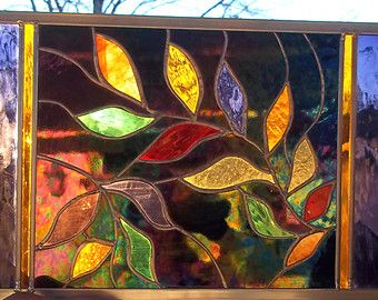 Stained Glass Window Panel Stormy Tree Trees Wall Hangings And