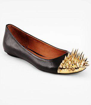 Black Spike Ladies Flat Shoes - Gold Rivet Ladies Flat Shoes