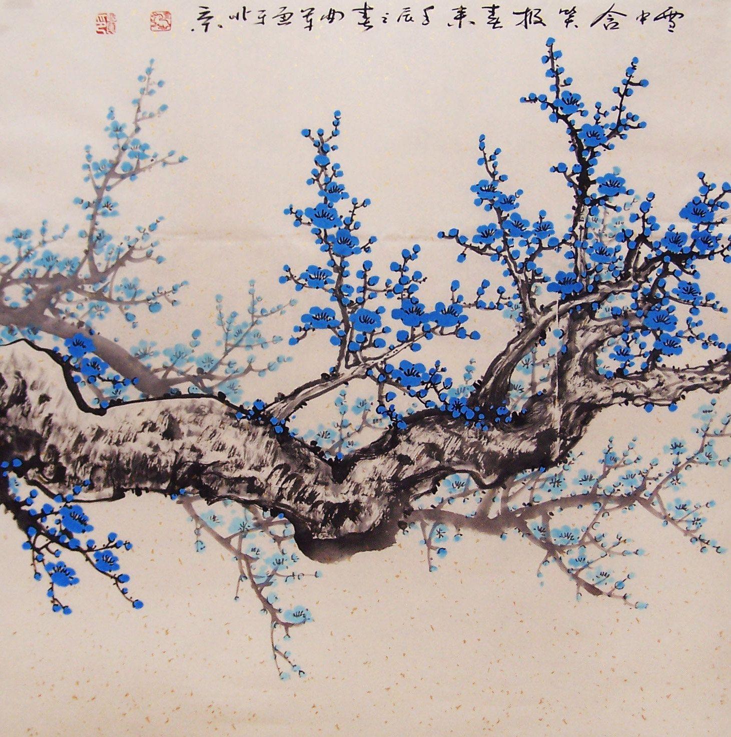 Chinese Artwork Cherry Blossom Painting Original Painting Chinese Art Oriental Art Cherry Blossom Painting Oriental Art Chinese Artwork