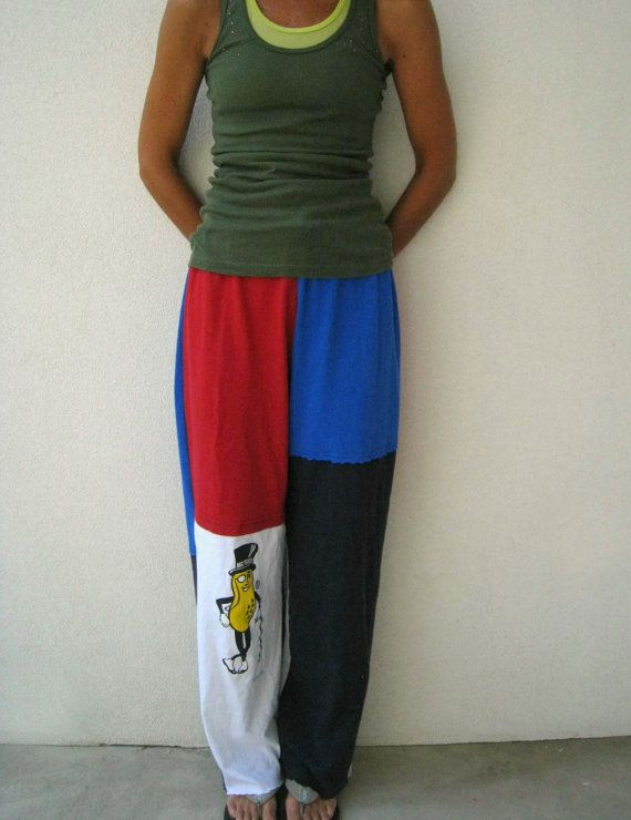Upcycled T Shirt Pants For Her / Mr Peanut / S  M / Red by ohzie
