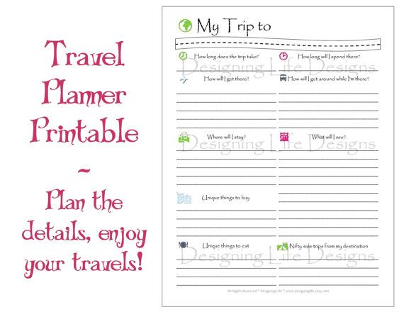 Vacation Travel Planner Printable Pdf Sheets  My Trip To Anywhere