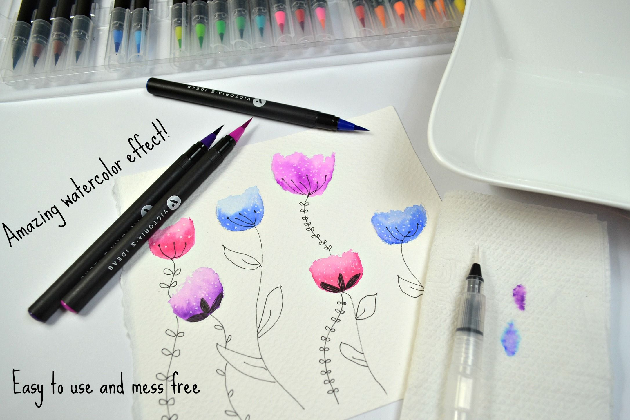 Illustrations And Watercolor Effect With Watercolor Brush Pens By