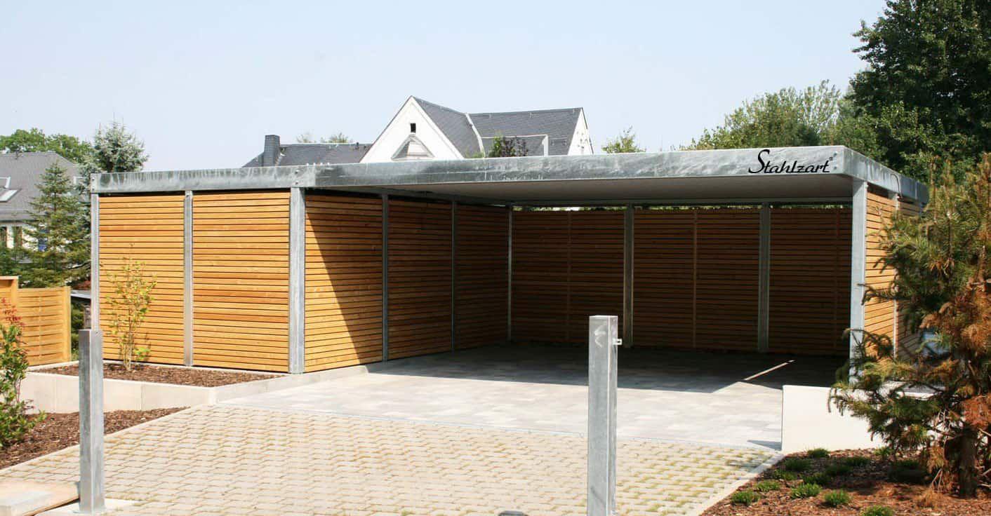 Carport Metall Stahlcarport Bonn · mit Abstellraum