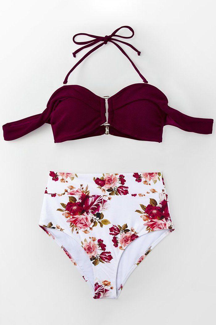 buy popular be343 10cfa Romantisches Rot und Floral High-Waist Bikini   Bademode in ...