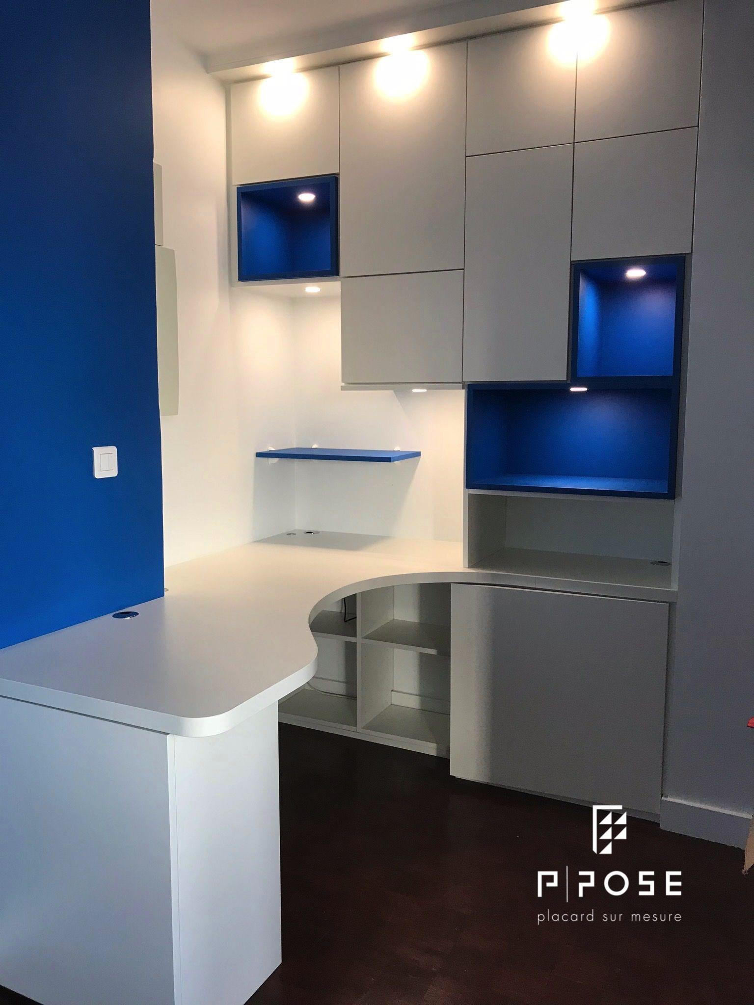 Bureau En Melamine Blanc Porcelaine Avec Niches Blue Sea Le