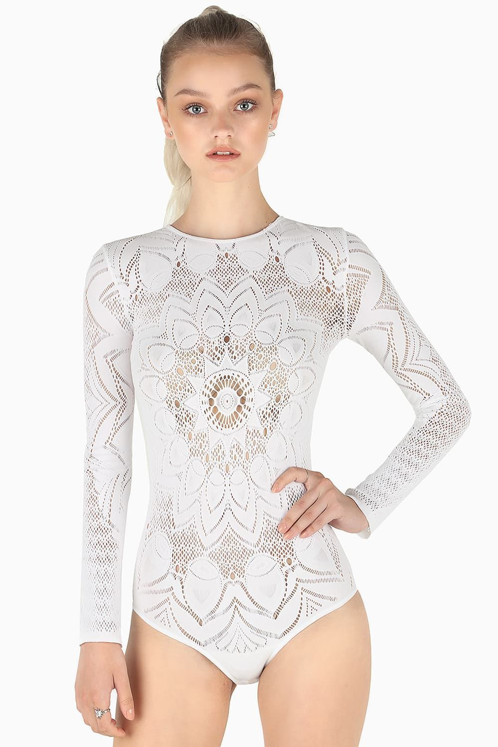 5e798ee4df The Ornate White Long Sleeve Bodysuit - New - Collections