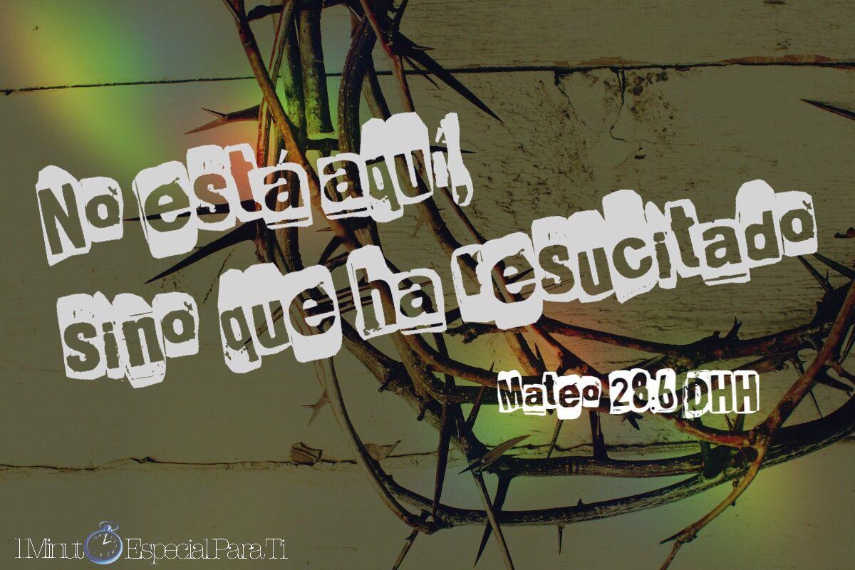 No está aquí, sino que ha resucitado, como dijo. Vengan a ver el lugar donde lo pusieron.  Mateo 28:6 DHH