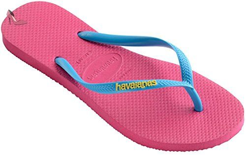 cece7e2670758e Havaianas Slim Logo Pink Blue Womens Summer Beach Flip Flops-41 -  Chaussures havaianas (