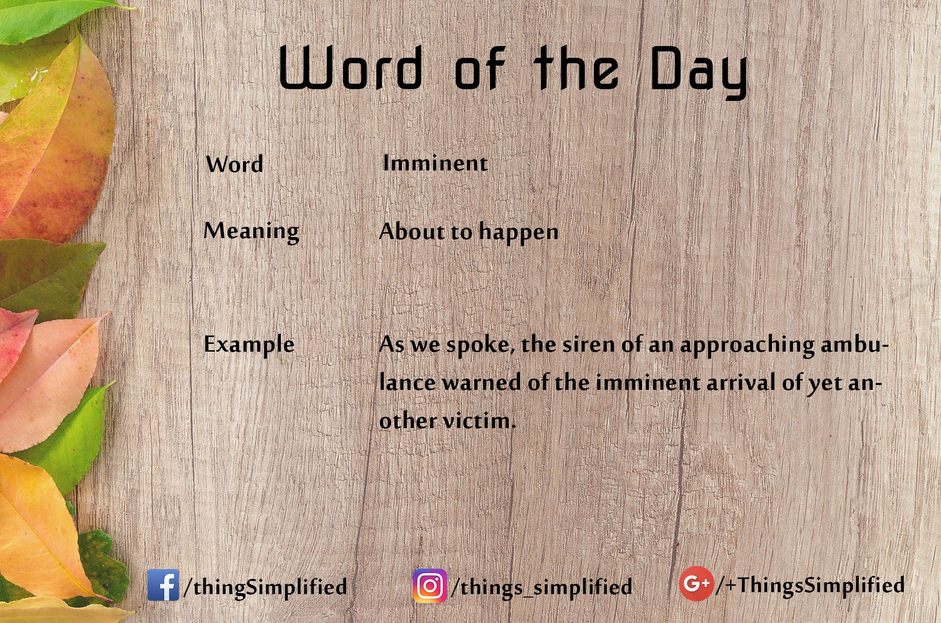 Word of the day. #ThingsSimplified #english #vocabulary #learning  #wordoftheday #meaning #sentence #word #learn #… | English words, Word of  the day, English phrases