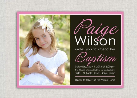 LDS Baptism Invitation Paige by announcingyou on Etsy
