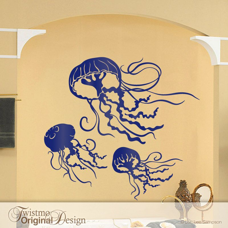 3 Jellyfish Decals - Bathroom Wall Decor, Under the Sea Room Decor ...