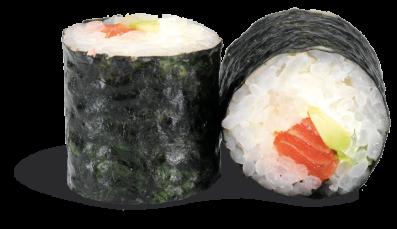 MAKI AVOCAT SAUMON  - rouleau de riz enroulé de nori et garni d'un dé de saumon ; d'avocat et de fromage frais