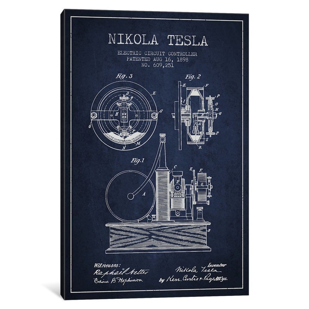 Icanvas Electric Circuit Navy Patent Print By Aged Pixel Canvas Electriccircuit2jpg