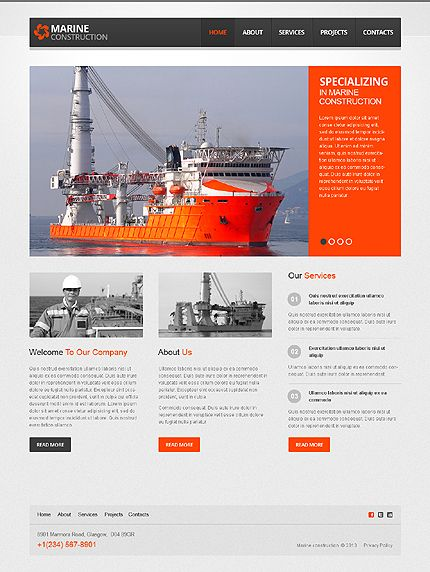 template 44032 marine construction responsive javascript animated