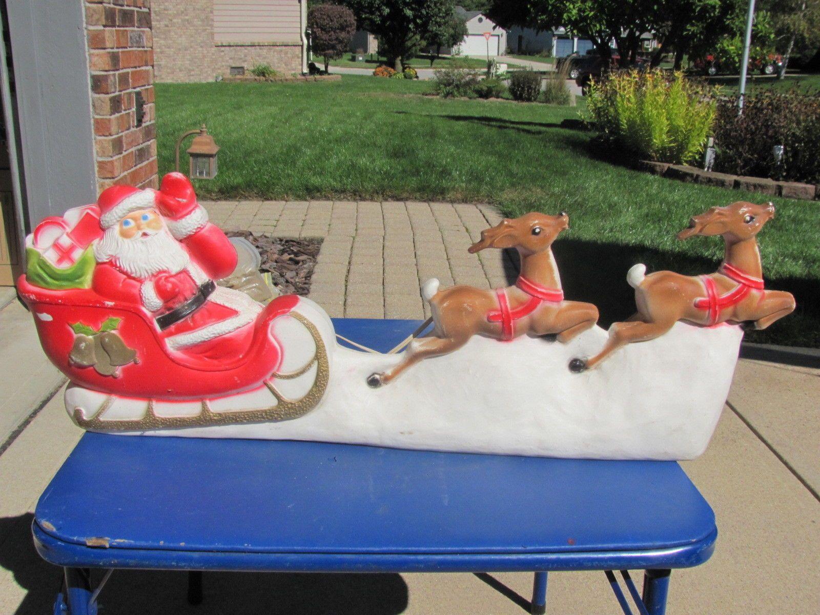 Union Santa Sleigh Reindeer Xmas Blowmold Light Plastic Outdoor Decor Yard VTG | eBay