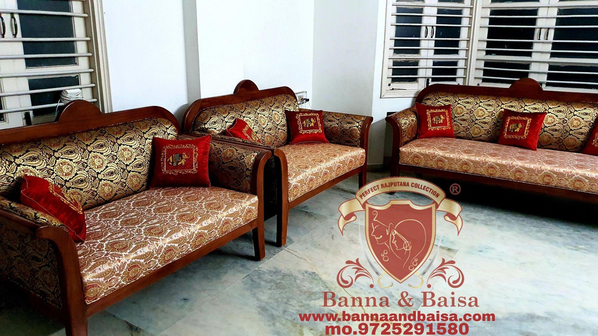 Pure Teak Wood Furniture And Kimkhab Print Sofa Banna