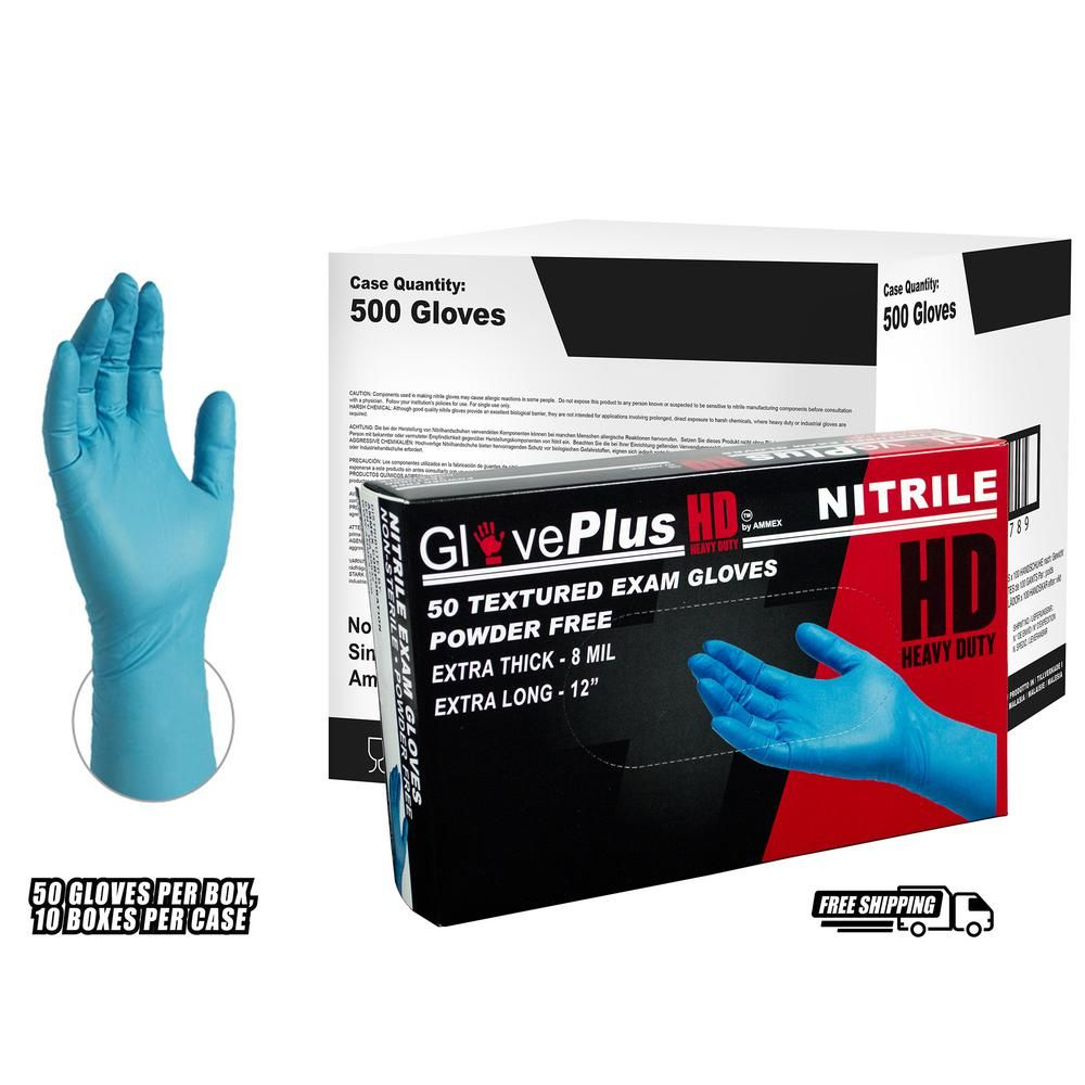 Ammex Gloveplus Heavy Duty Blue Nitrile Exam Powder Free 8 Mil Disposable Gloves 10 Boxes Of 50 Count Large Gpnhd66100 The Home Depot Disposable Gloves Nitrile Gloves Medical Technician