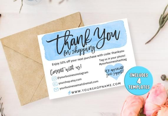 DIY Printable Thank You Card for Your Order Blue - Small Business Thank You Note Social Media Icons - Instagram, Poshmark, Etsy, Email #businessthankyoucards
