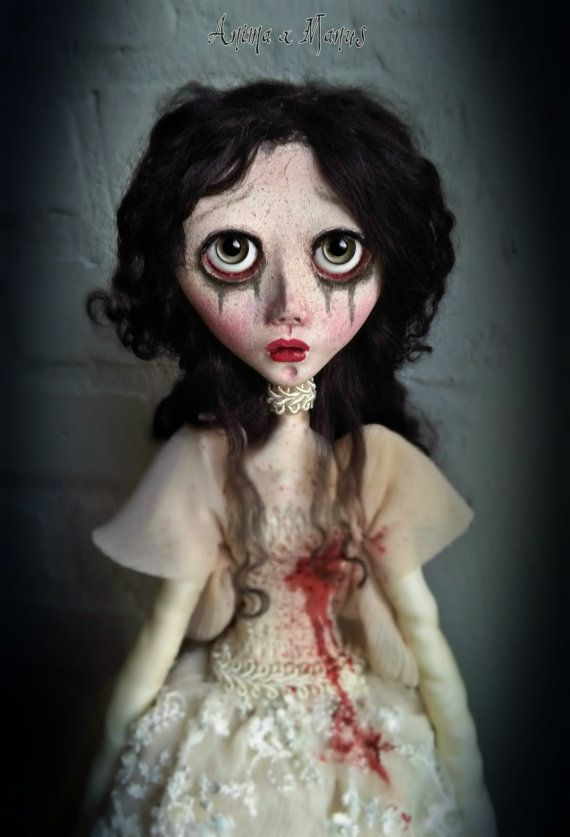 OOAK Art doll ELEANOR, The Bloody Bride, handmade, art doll, victorian doll, gothic doll, sad doll, sculpted, wedding dress, bride, unique #dollvictoriandressstyles