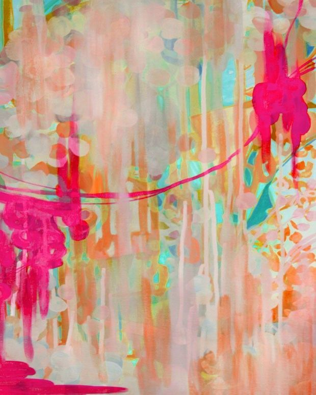 Gorgeous abstract modern art by Stephanie Corfee. A melange of colors featuring rich fuchsia pink give a dream like quality to an ocean underwater landscape. Expertly reproduced giclee abstract painti
