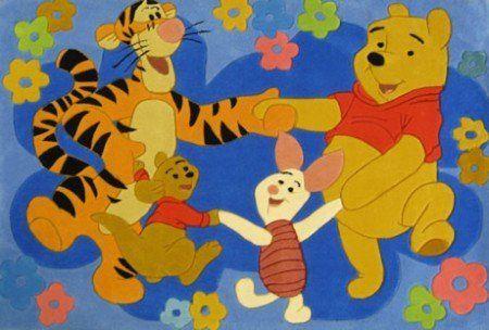 Farbenfroher Kinderteppich Disney Winnie Pooh Freunde Tanz 168x115cm ...