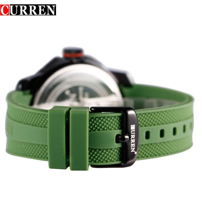 CURREN Men Sport Military Quartz Large Round Silicone Band Watch