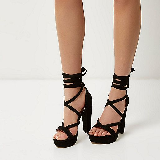 Black tie-up platform heels - high heels - shoes / boots - women ...