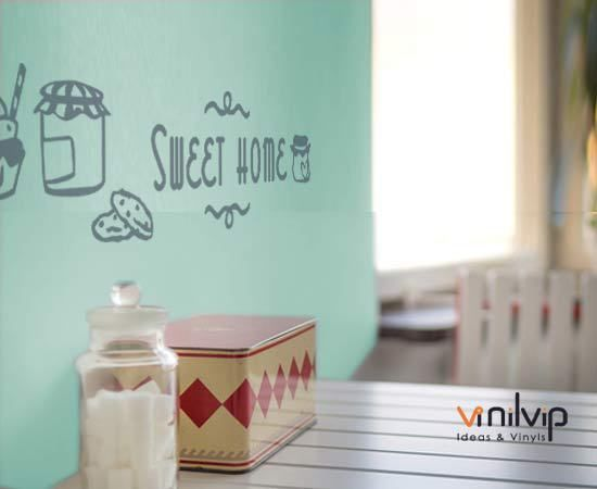 Vinilos cocina con frases en gris sobre mint. diseño sweet home ...
