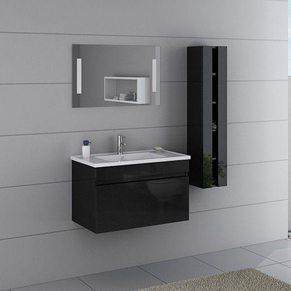 Miroir rectangulaire avec cadre inox noir sdvm4260 en 2020 - Petit meuble colonne salle de bain ...
