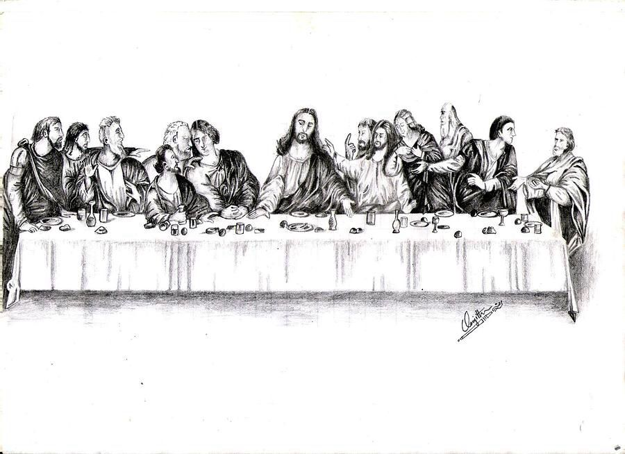Pen And Ink Drawing Of The Last Supper Art Ideas Art