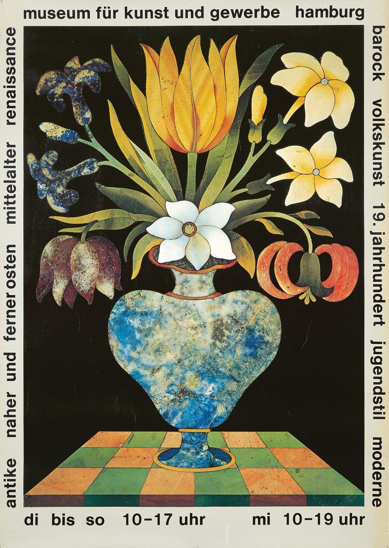Original Vintage Poster Museum Hamburg Exhibition Flowers Vase Ebay Kunst