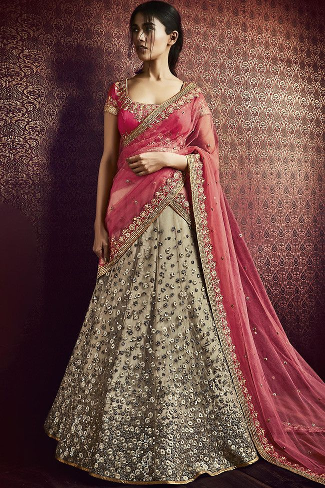 Buy Beige And Pink Net Silk Wedding Lehenga Online At Indifashion