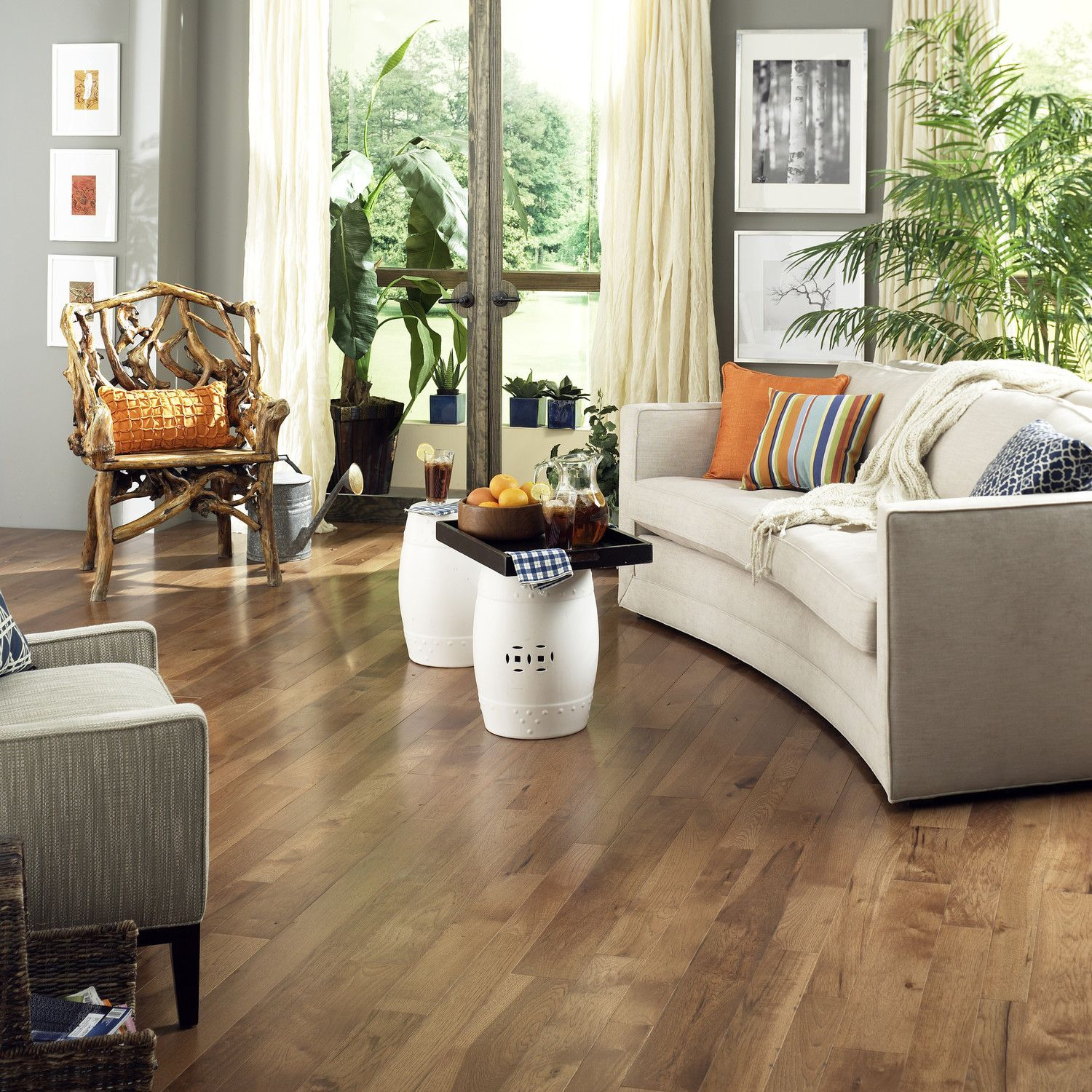 """7.24/foot 5"""" Solid Hickory Hardwood Flooring in Saddle"""