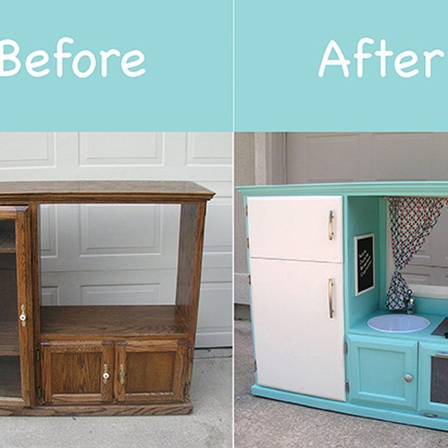 Before & After: Turn an Old Cabinet into a Kid\'s Kitchen | Casa ...