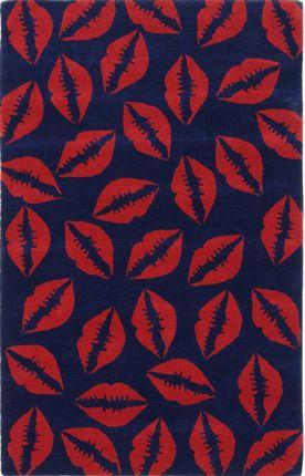 Rugs Usa Sierra Lips Kisses Navy Rug Rugs Navy Rug Pattern