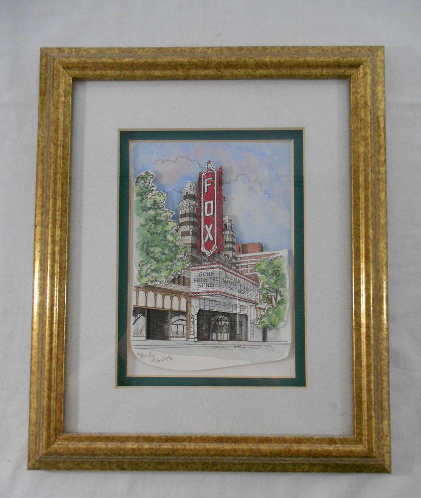 Patsy Gullett Sculptured Watercolor Fox Theatre Alanta Georgia  Signed
