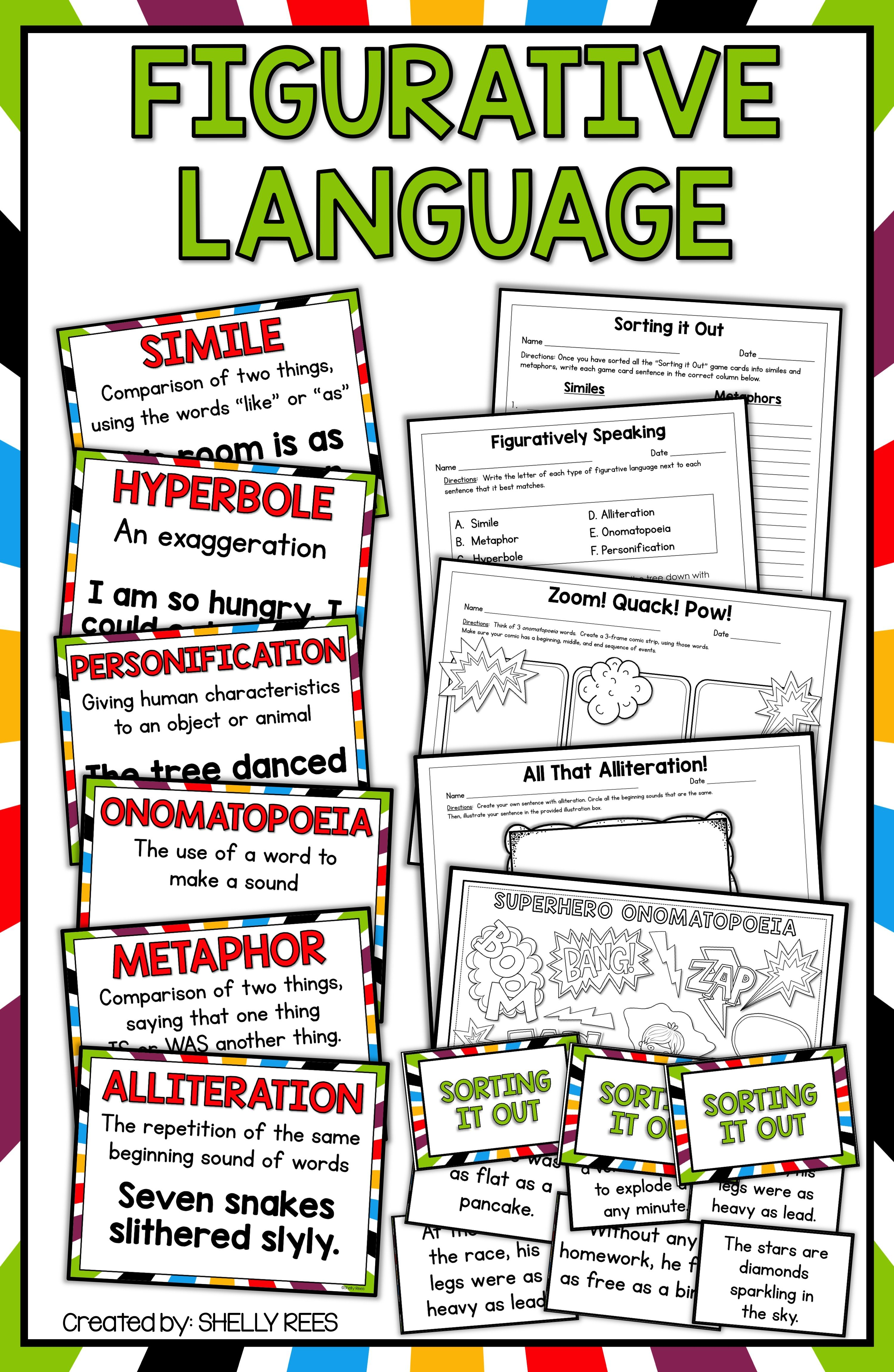 Figurative Language Worksheets and Posters   Figurative Language Activities    Figurative language [ 4599 x 2998 Pixel ]