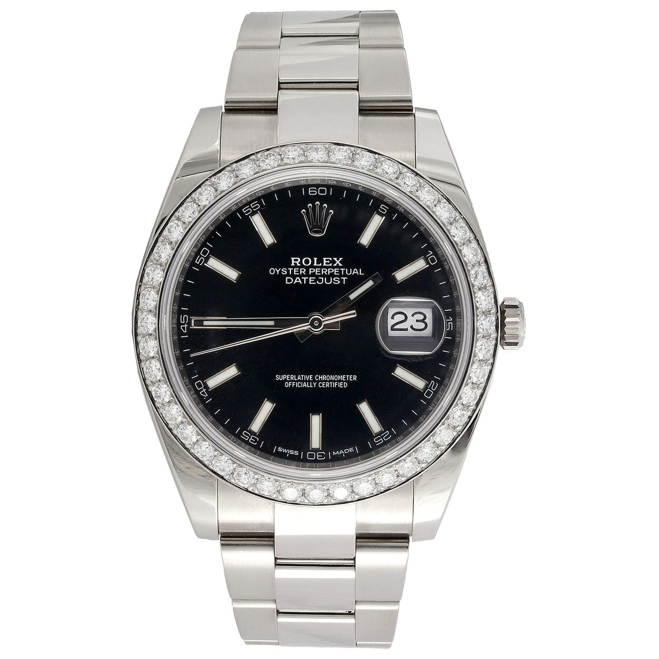 Men's Rolex DateJust 41 Diamond Watch Ref  # 126300 Black Stick Dial