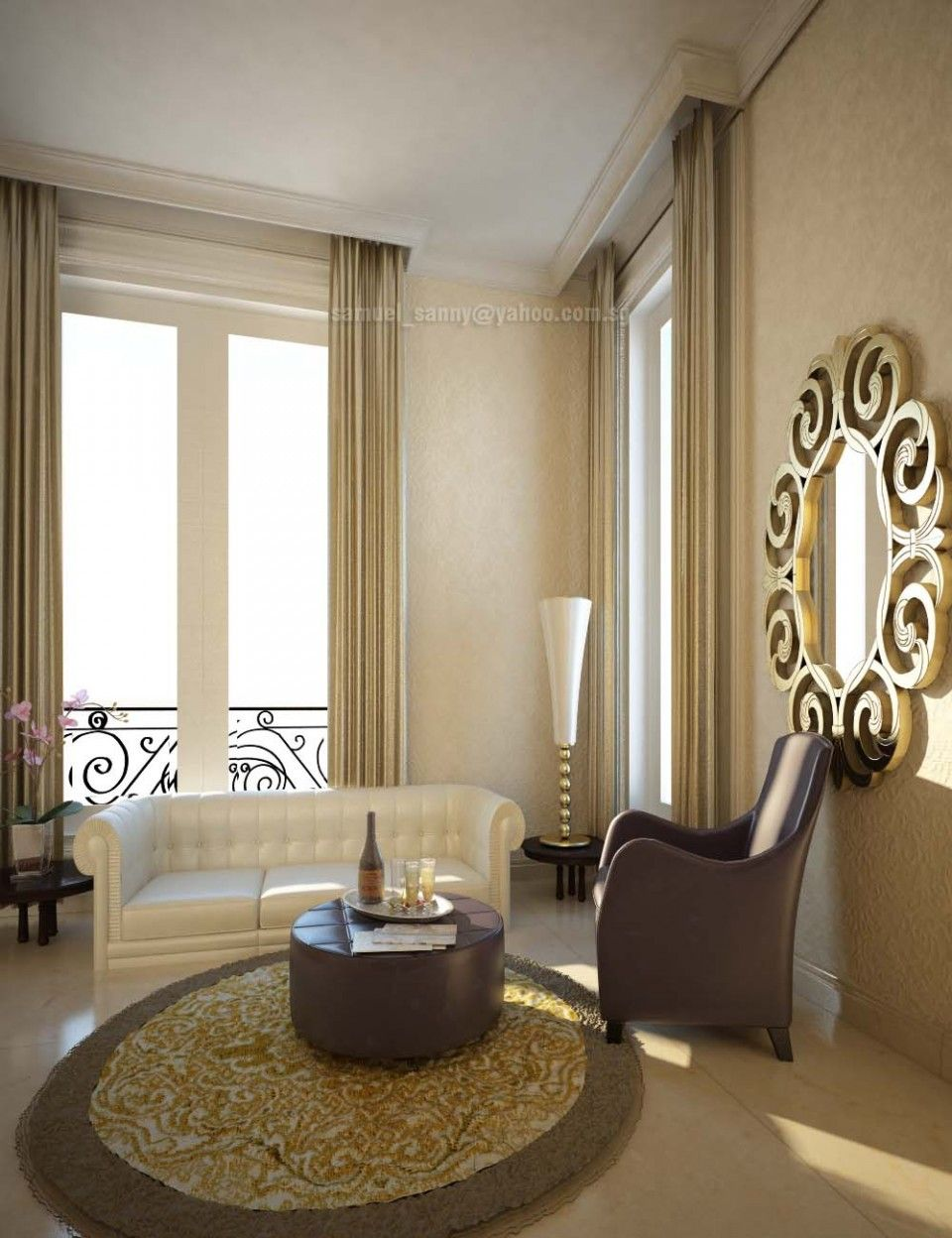 Brown curtain ideas near floor lamp with table in the corner also