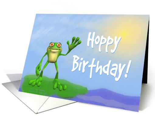 Hoppy Birthday-Frog on Lily Pad-Humor-Amphibian card SOLD/SALES