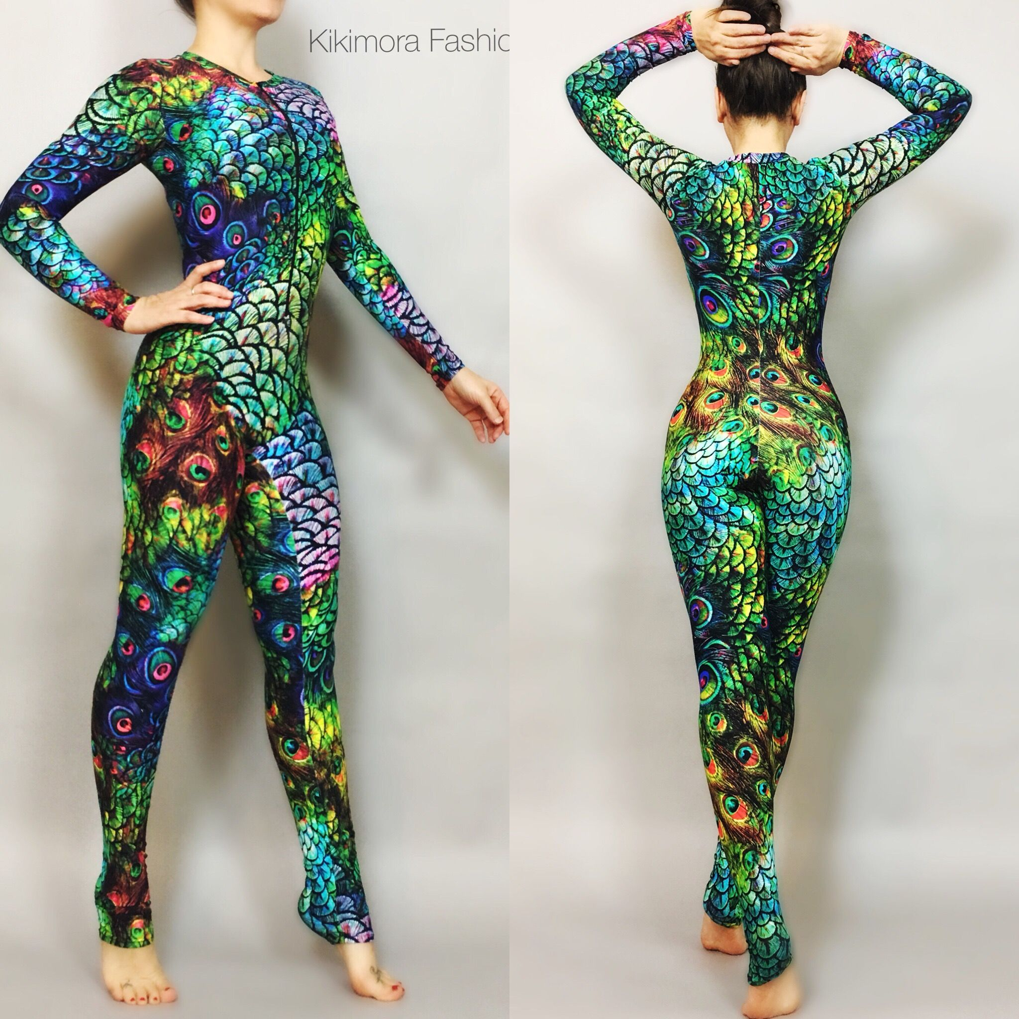 6963b8c516e6 Rainbow Peacock Catsuit, bodysuit, costume,activewear. NEW!! NEW ...