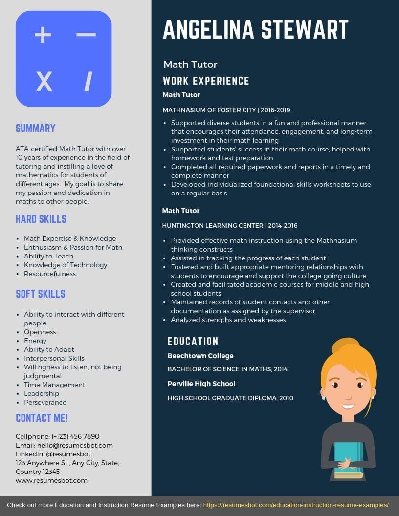 Math Tutor Resume Samples Templates Pdf Doc 2021 Math Tutor Resumes Bot Math Tutor Resume Examples Education Resume