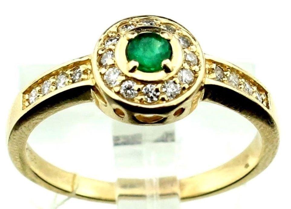 14k Yellow Gold 0.20ct Emerald 0.20 Diamond Cocktail Ring sz 7, 3.0g B4. #HC5 #Cocktail