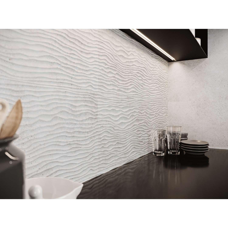 Fliesen Wellenmuster Wandfliese Tokio Dekor Dune Weiss 30x90cm