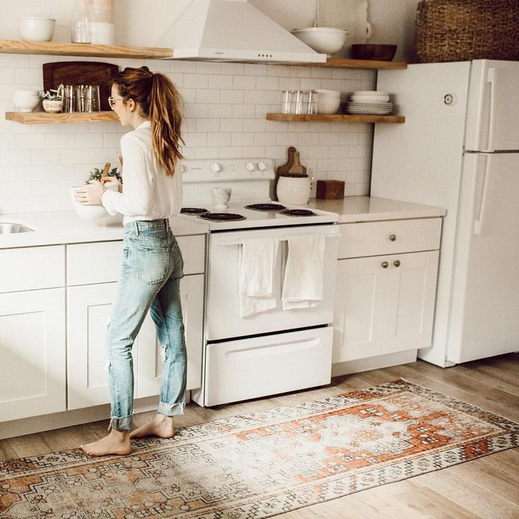 love this patterned rug by the sink kitchen ideas pinterest