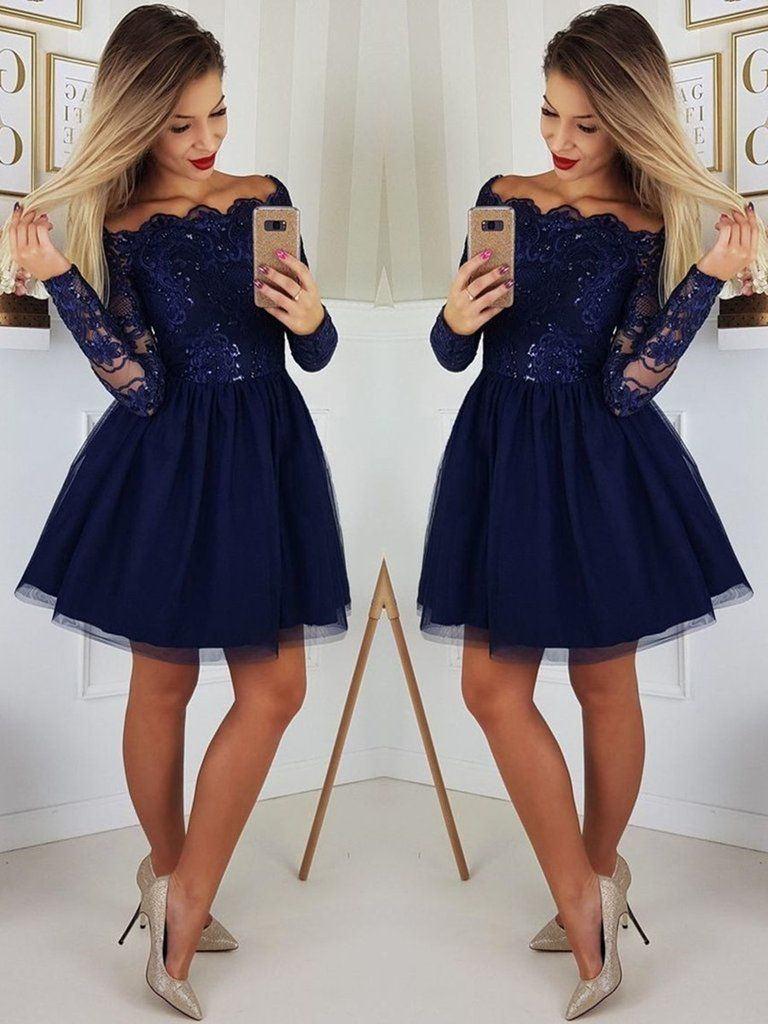 baaae0dd31f Custom Made A Line Long Sleeves Dark Navy Blue Lace Prom Dresses ...