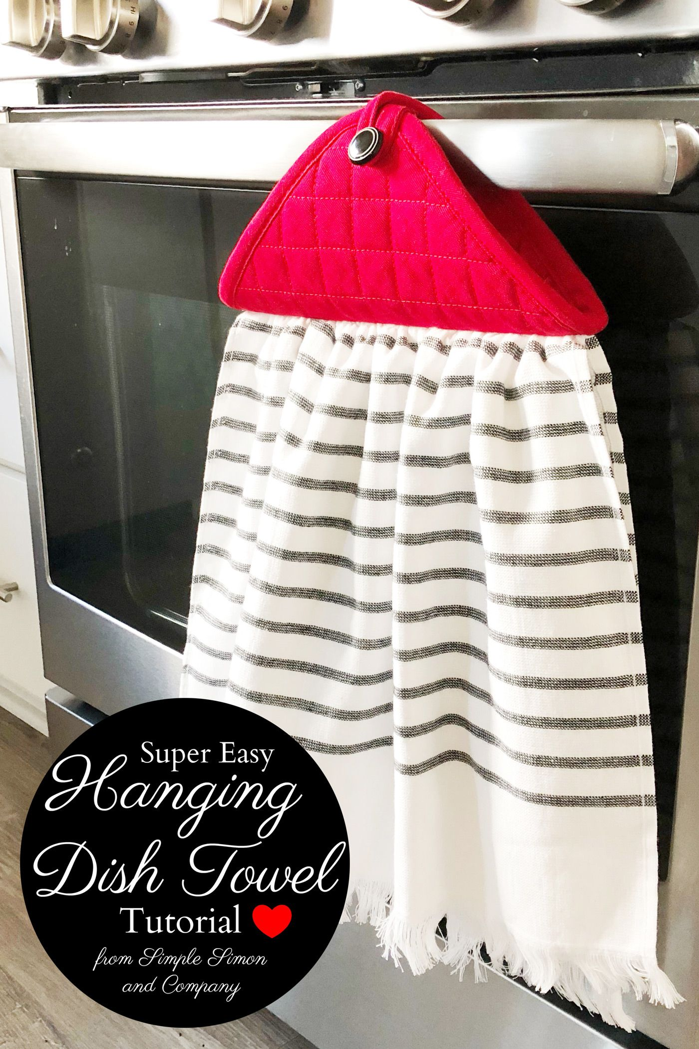 Farmhouse Style Hanging Kitchen Towel Tutorial Beginner Sewing
