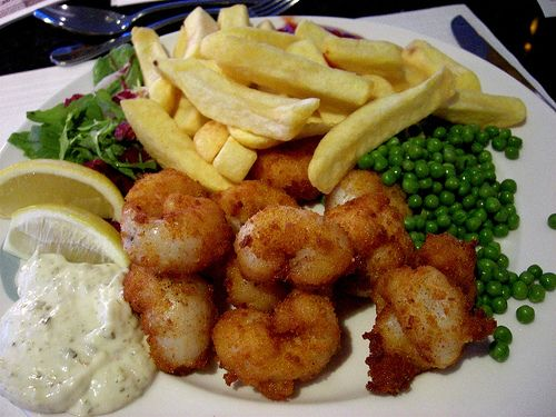 ENGLAND. Scampi and Chips. First has them in York, in 1980