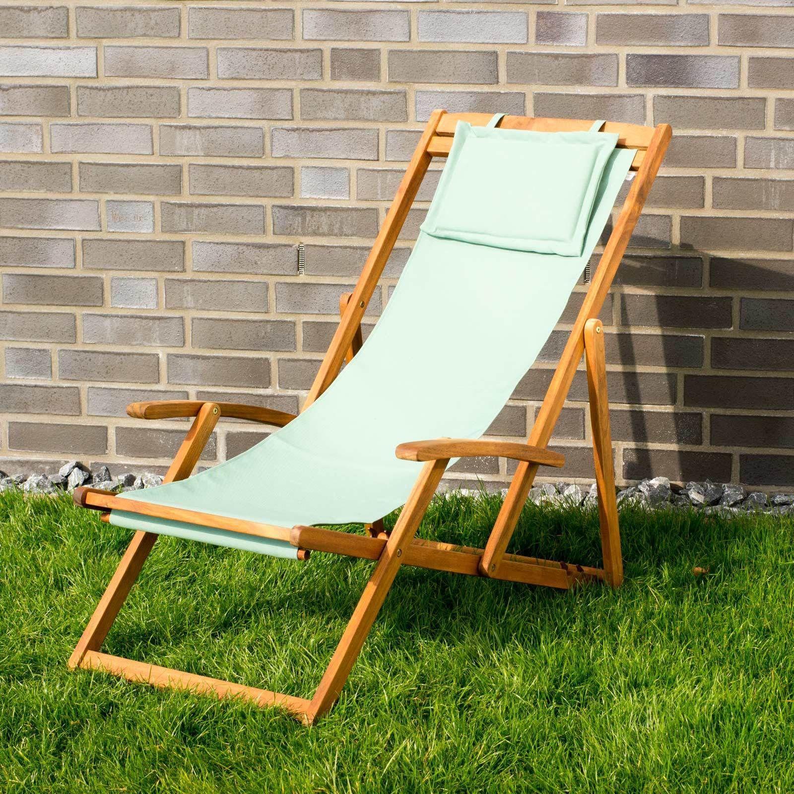 Liegestuhl Relaxliege Garten Sonnenliege Strandliege Holz Stoff 4