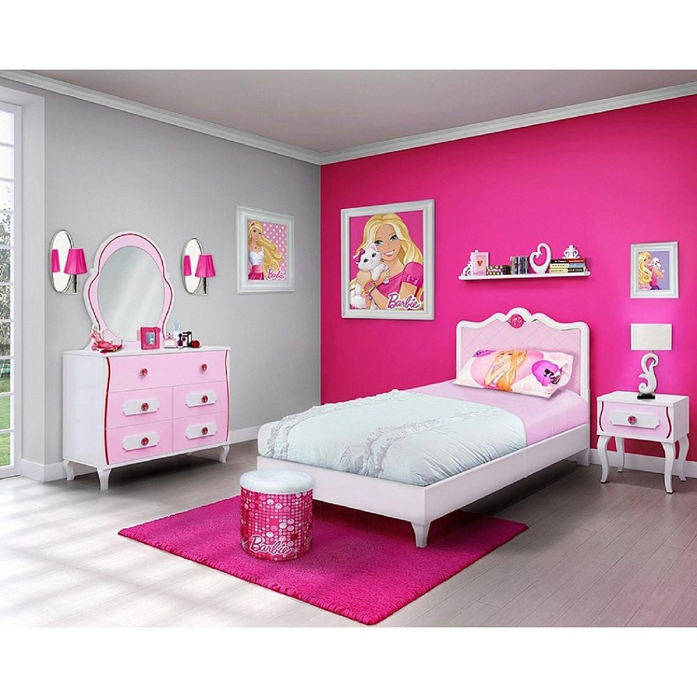 Barbie 4 Piece Bedroom In A Box Furniture Set Twin Bed Ebay Barbie Room Pink Kids Bedrooms Barbie Bedroom